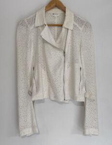 VANESSA BRUNO Gorgeous Cream Broderie Lace Jacket Biker Zip Top Size 34 6-8 AU