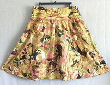 Chico's Skirt 100% Silk Fit-Flared Floral Embroidery Trim Size 2