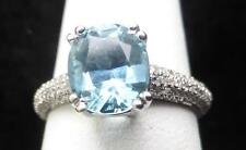RING Ladies 14K White Gold Diamond Pave 0.93ct & Blue Oval Topaz Size 6
