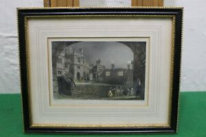 Antique Engraving After Thomas Allom, The Court of Haddon Hall, Published 1836