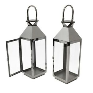 JVL Quality Hampton Stainless Steel In/Outdoor Candle Wedding Lanterns