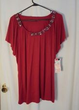 cable & gauge woman Red Size 2X Red Cap Sleeve Embellished Knit Top