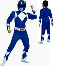Mighty Morphin Power Rangers Size 7-8 Med Blue Ranger Muscle Costume New Child