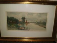 C1908 ENGLISH SCHOOL WATERCOLOUR RIVER SCENE WITH WINDMILL MONOGRAMME SIGNED H