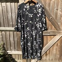 Kin by John Lewis Dark Green Scatter Floral Oversize Tunic Dress 14 16 18 BNWOT