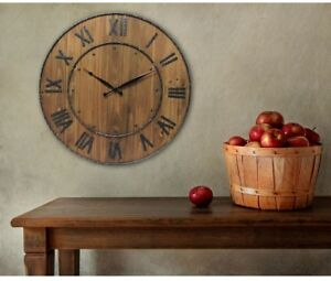 Wall Clock 24 in. H x 24 in. Analog Round Wine Barrel Design in Brown Stained