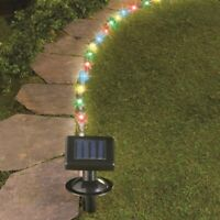 16 Ft Solar Powered LED Outdoor Walkway Garden Ice Blue Rope Light
