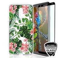 For LG Stylo 4/Plus/Q Stylus Alpha Tropical Flower TPU Case+Black Tempered Glass