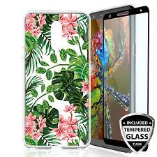 For LG Stylo 4/Plus/Q Stylus Alpha Case Tropical Flower TPU+Black Tempered Glass