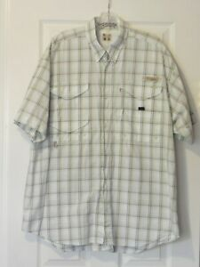 Columbia BoneHead PFG Men's Size L Tan & Green Plaid SS Vented BF Fishing Shirt