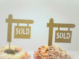 Sold Sign Cupcake Toppers,Housewarming Party Decorations,Realtor Party Decor