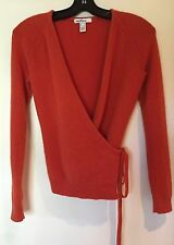 REALITIES BURNT ORANGE CASHMERE WRAP SWEATER STYLE ILMU0797 T012 SIZE X-SMALL