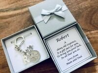 LUCKY SIXPENCE, keyring, WEDDING, GROOM, PAGE BOY, BEST MAN, PERSONALISED gift