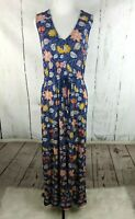LUCKY BRAND Sleeveless Maxi Dress Floral V Neck Tie Waist Knit Stretch Small
