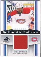 2013-14 SP GAME USED AUTHENTIC FABRICS P.K. SUBBAN JERSEY 1 COLOR MONTREAL