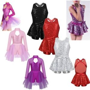 UK Girls Sequined Dance Dress Ballet Leotards Modern Dance Latin Jazz Costume