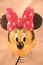 Disney Minnie Mouse Face Hair Bow Table Lamp Pink Black Works