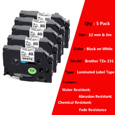 5 Tz 231 Tze 231 Compatible For Brother P Touch Pt D210 Tape 12mm 8m Laminated