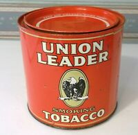 VINTAGE UNION LEADER TOBACCO TIN , EXCELLENT CONDITION WITH HUMIDOR MOISTENER