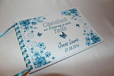 Gästebuch zur Taufe . Taufgeschenk Taufbuch türkis - blau