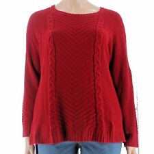 Sweater 1X Plus NY Collection $59 NWT Pull-Over Red Fox Cable-Knit Long MC352