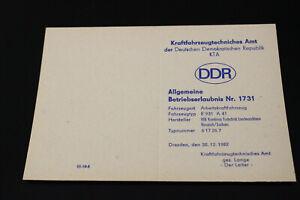 DDR FORTSCHRITT KTA KFZ BRIEF BETRIEBSERLAUBNIS EINACHSSCHLEPPER BODENFRÄSE E931