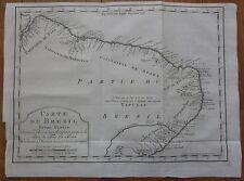 BELLIN: Map Brasil Ceara Paraiba Sergipe Rio Grande do Norte - 1753