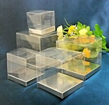 25x Clear PVC Boxes Favor Party Gift Square 5 6 7 8 9 10 cm Silver/Gold/No Base