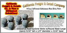 Industrial Roof Cyclone Vents w/Round Base N/1:160-Scale CAL Freight & Details