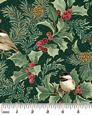 Fat Quarter Chickadees and Berries Christmas Cotton Quilting Fabric Benartex