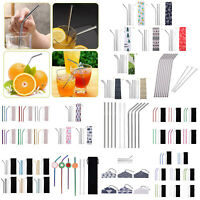 Stainless Steel Metal Drinking Straw Straight Bent Reusable with Cleaner Brush