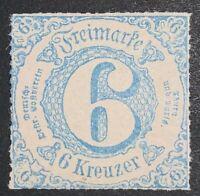 Travelstamps:1859-1866 Germany Thurn and Taxis Scott # 58, Mint Og Mnh 6 Kreuzer