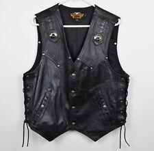Harley-Davidson Men's Large Black Leather Lace-Up Snap-Front USA Biker Vest
