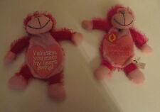 ONE Valentine Stuffed Monkey  Ape w/Pocket Hide Present Gift Romance Sweetheart