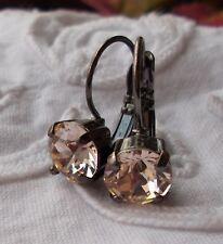 8mm Cup Chain SILK/GUN METAL EARRINGS made w/Swarovski Crystals