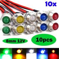 10Pcs 12V 8mm LED Indicator Light Lamp Bulb Pilot Dash Panel Car Truck Boat Kit