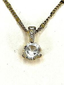 SWAROVSKI 18K GP CHAIN NECKLACE CRYSTAL RHINESTONE 7.5MM SOLITAIRE PENDANT