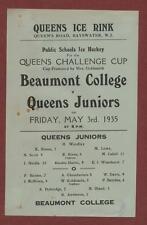 Beaumont College v Queens Juniors. 1935. Ice Hockey.  eb.72