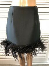 LANVIN River 2014 Black Skirt edged with Ostrich feathers, stunning! Side zip