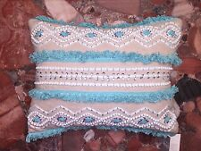 NWT KIM SEYBERT Calypso Beaded SEQUINS TURQUOISE FRINGE Tassel St. Barth PILLOWS