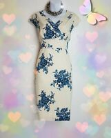 Joules Dress 14 Blue Cream floral 100% Cotton straight crossover lined VGC £85