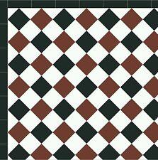 Unglazed Victorian floor tiles Red&White&Black 10x10 exterior £65.00 loose Tiles