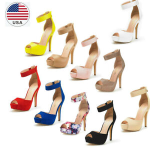 Women's Ankle Strap Back Zipper High Heel Sandals Platform Pump Dress Shoes