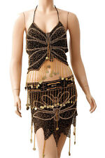 Belly Dancer Costume Black Beaded Gold Discs India