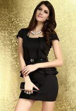 Schößchen Minikleid Business Cocktail Kleid Gürtel M 36 38 Partykleid Abendkleid
