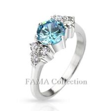 FAMA Stainless Steel Large Sea Blue CZ w/ Multi CZ Band Ring Size 5-8