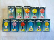 2x 5x 10x 15W or 25W Coloured Round Golf Ball Light Bulbs BC B22 Bayonet Cap