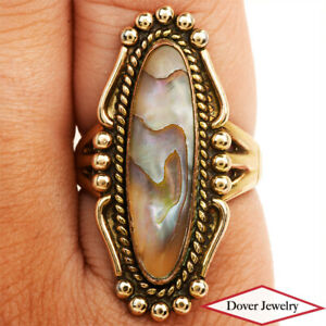 Estate Abalone Shell 12K Gold Textured Cocktail Ring 6.1 Grams NR