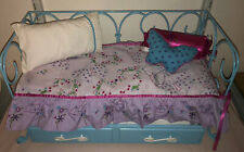 American Girl Blue CURLICUE DAYBED w Butterfly Bedding & Trundle Mattresses