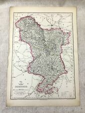 Antique Map of Derbyshire Derby County 19th Century Original Old Hand Coloured